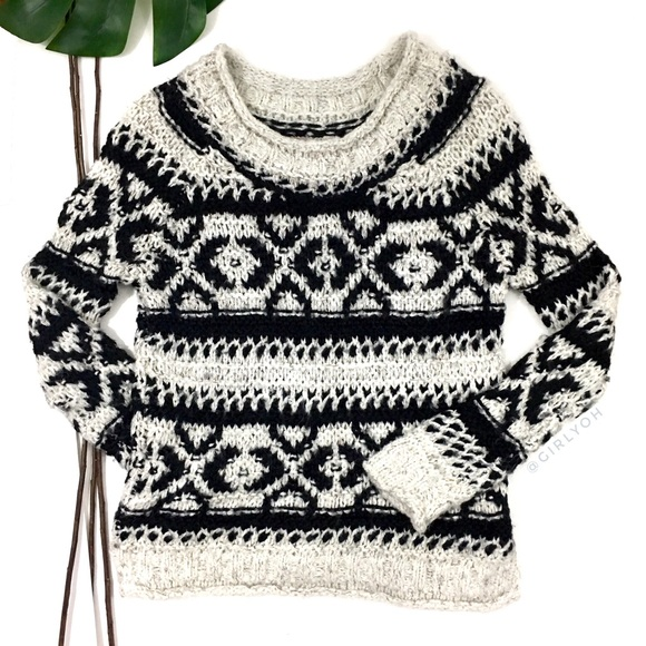 70fc7e94bba109 Free People Sweaters - Free People Silver Reed Fair Isle Pullover Sweater